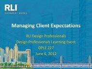 Managing Client Expectations - RLI Design Professionals