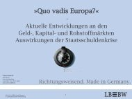 Quo vadis Europa? - Aktuelle Entwicklungen an den Geld-, Kapital ...
