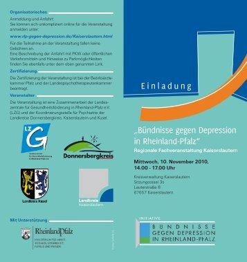 Einladungsflyer - Bündnisse gegen Depression in Rheinland-Pfalz