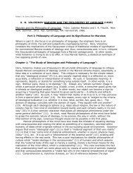 The Philosophy of Language and its Significance for Marxism