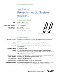 Projection Audio System (Model SBA-L) Specifications - Intervideo srl