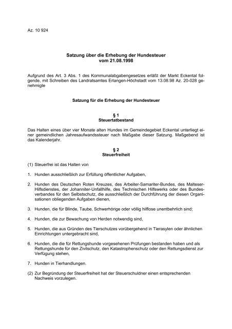 Satzung über die Erhebung der Hundesteuer vom 21.08 ... - Eckental