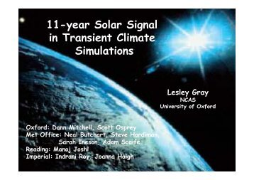 11-year Solar Signal y g in Transient Climate Simulations