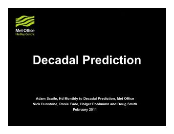 Climate Models for Decadal Prediction