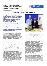 the history group's silver jubilee - Royal Meteorological Society