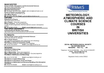meteorology, atmospheric and climate science courses in british ...