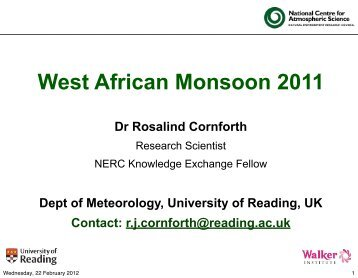 West African Monsoon 2011 - Royal Meteorological Society