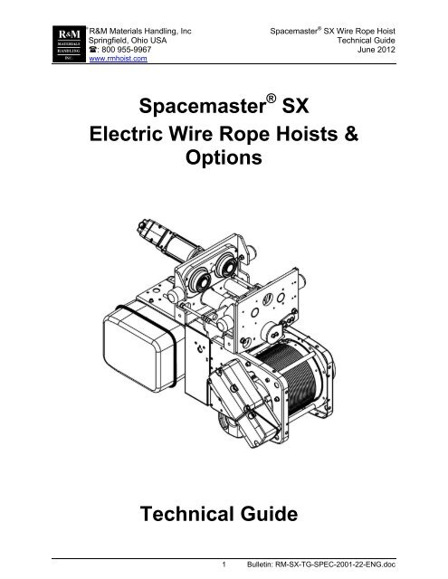 r\u0026m materials handling  spacemaster sx electric wire rope hoists \u0026 options technical guide