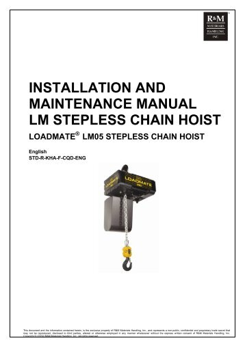 RM Series II Manual Chain Hoist Installation, Operation