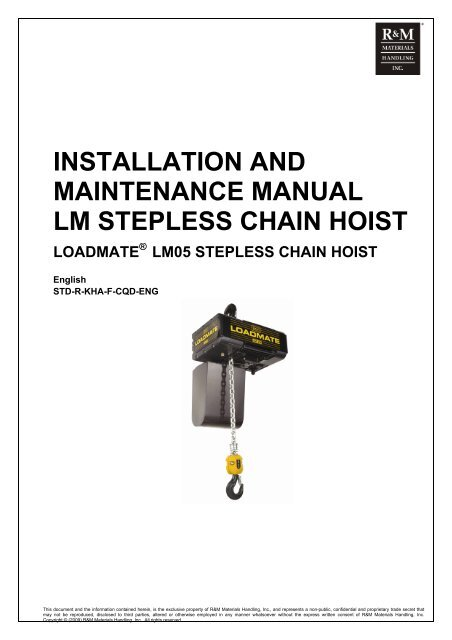 LM05 Stepless Electric Chain Hoist Installation and ... on