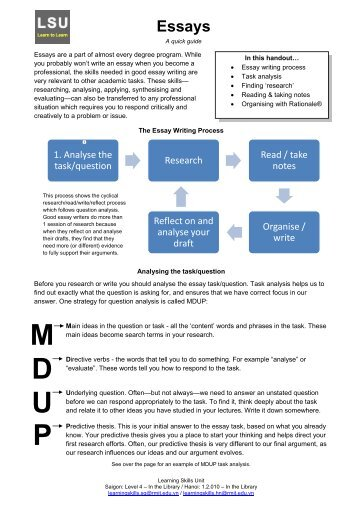 Check out the handout for great essay writing