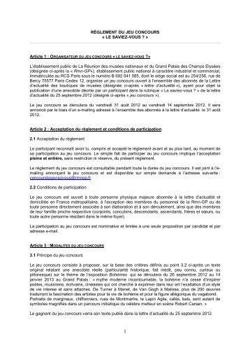 RÈGLEMENT DU JEU CONCOURS - Réunion des musées nationaux