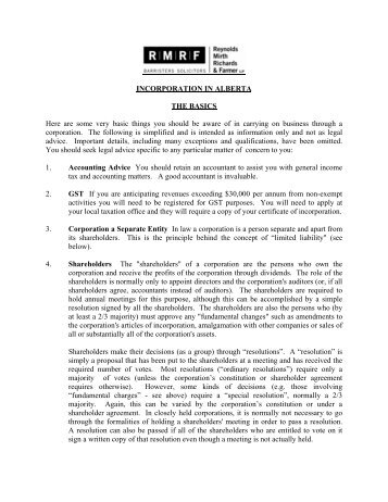 Basics of Incorporation - Reynolds Mirth Richards & Farmer LLP