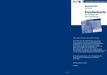 Kundenkarte Schüler/-innen und Auszubildende - Bestellschein - RMV