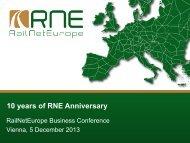 Presentation - 10 years of RNE anniversary - (PDF) - RailNetEurope