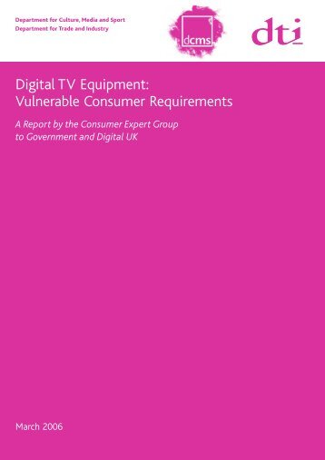 Digital TV Equipment: Vulnerable Consumer Requirements - RNIB