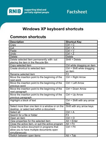 Windows XP keyboard shortcuts Common shortcuts - RNIB