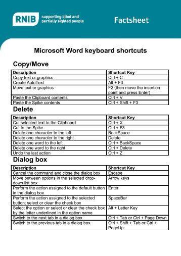 microsoft word 2007 keyboard shortcuts pdf