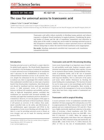 The case for universal access to tranexamic acid - RoadPeace