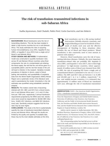The Risk of Transfusion - Transmitted Infections in sub ... - RoadPeace