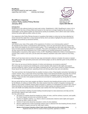RoadPeace response Labour Party Justice Policy Review January ...