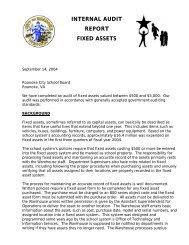 Internal audit report fixed assets - Roanoke