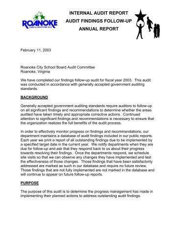 Internal Audit Report Audit Findings FollowUp    City Of Roanoke