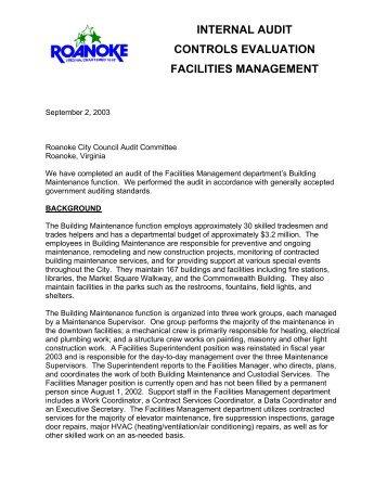 internal audit controls evaluation facilities management - Roanoke