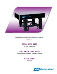 Optical Table and Support Systems - Manual - CVI Melles Griot