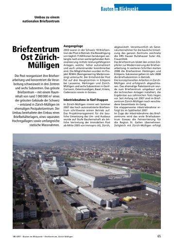 Briefzentrum Ost Zürich-Mülligen, 2007 - Robe Verlag