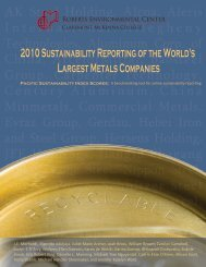 2010 Sustainability Reporting Of The World's Largest Metals