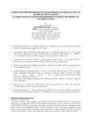 compilation préliminaire des décisions rendues au canada en 2001 ...