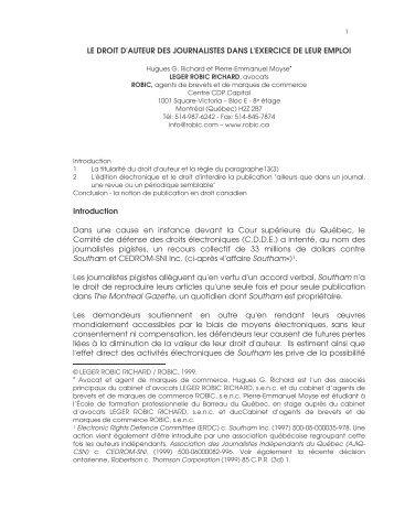 LE DROIT D'AUTEUR DES JOURNALISTES DANS L'EXERCICE ...