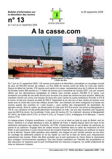 n° 13 A la casse.com - Robin des Bois