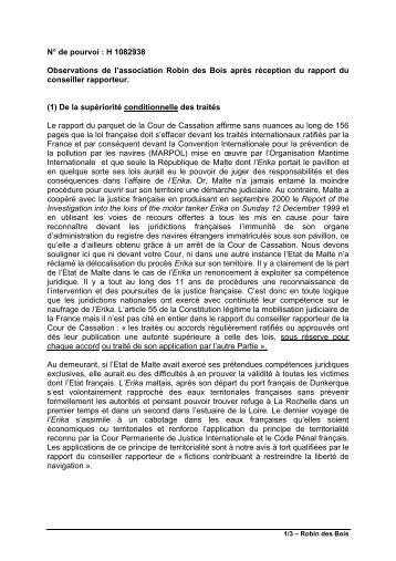 N° de pourvoi : H 1082938 Observations de l ... - Robin des Bois