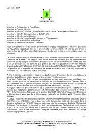 Lettre du 6 juillet 2007 aux autorités de l'Etat - Robin des Bois