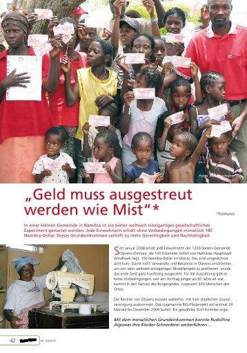 """Namibia: """"Geld muss ausgestreut werden wie Mist!"""" - Robin Wood"""
