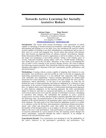 Towards Active Learning for Socially Assistive Robots