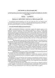 HOTARARE nr 442 2003 masuri stimulare tineri cercetare