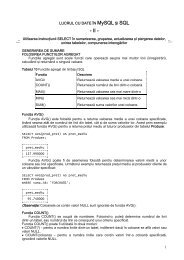 Introducere in MySQL (exercitii din linia de comanda),