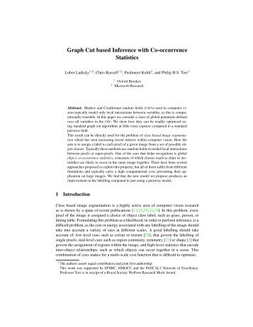 Graph Cut based Inference with Co-occurrence Statistics - Microsoft ...