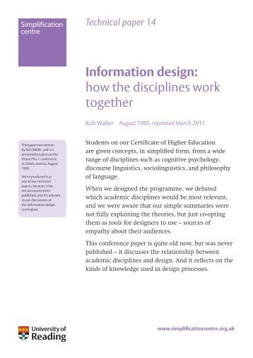 Information design: how the disciplines work together - Rob Waller