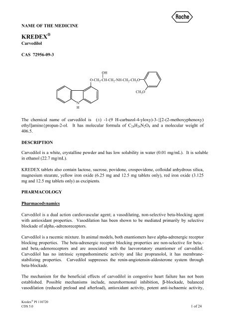 Kredex (carvedilol) - Product Information (PI) - Roche Australia