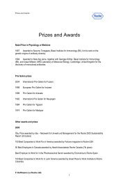 Roche Prizes and Awards