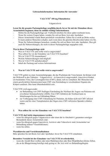 Information für Anwender VALCYTE® 450 mg Filmtabletten ...