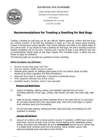 Recommendations for Treating a Dwelling for Bed Bugs - Rochester