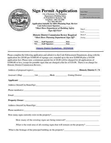 Sign Permit Application - Rochester