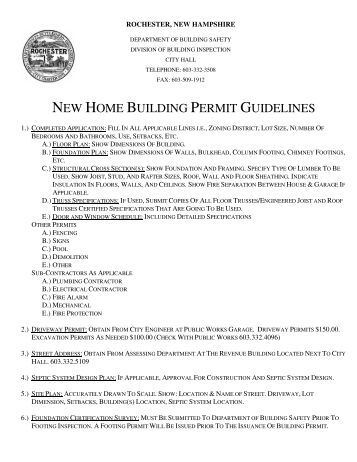 NEW HOME BUILDING PERMIT GUIDELINES - Rochester