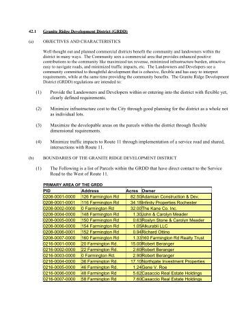 Key Elelments of Granite Ridge Development District: - Rochester