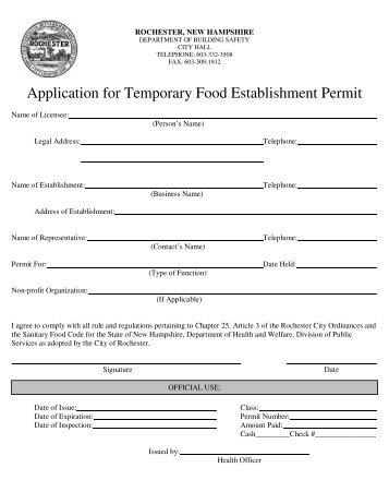 Application for Temporary Food Establishment Permit - Rochester